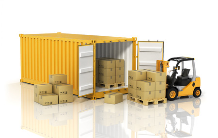 shipping: Open container with forklift stacker loader holding cardboard boxes. Transportation concept.