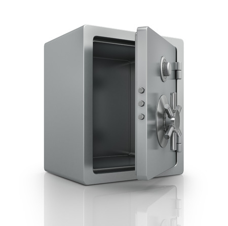 safe with money: Realistic steel bank safe.