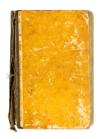 single story: old vintage yellow book on an isolated white background