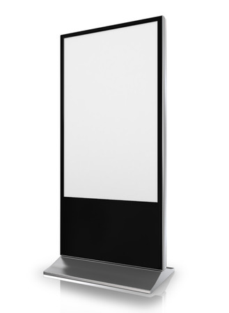 stand up: blank trade show booth on white background Stock Photo