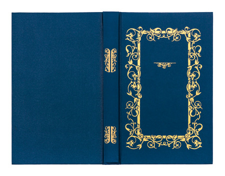 rifts: blue with gold pattern vintage book cover isolated on white background