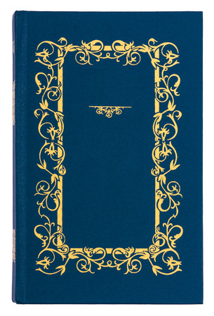 spoil: blue with gold pattern vintage book cover isolated on white background