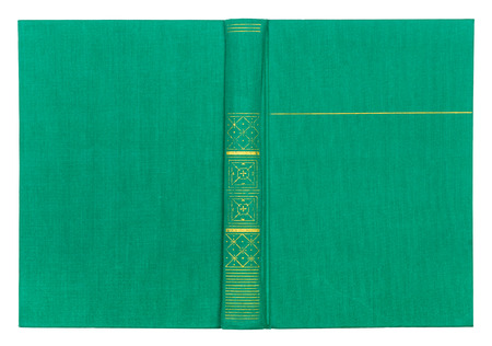 abstracto: Vintage textile green book cover with gold pattern isolated on white background