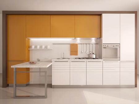 fachada: cocina moderna 3d interior Foto de archivo