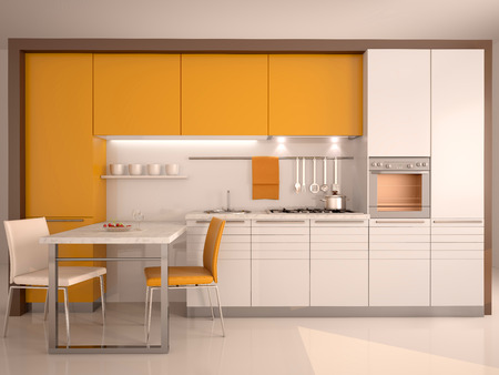 stainless steel kitchen: modern kitchen interior 3d Stock Photo