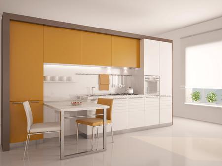 cuisine fond blanc: cuisine moderne 3d interior Banque d'images