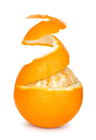 orange peel skin: ripe orange peeled skin on a white background