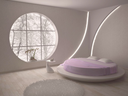 luxuriously: bedroom with a circular window and a round bed in pink
