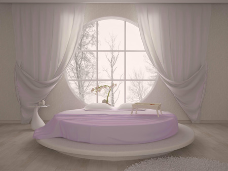 commodious: bedroom with a circular window and a round bed in pink