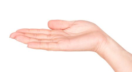 empty female open hand isolated on white background Foto de archivo