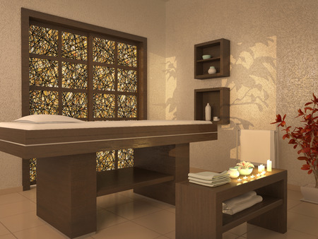 3d illustration of nice massage room in spa saloon