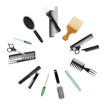 a collection of tools for professional hair stylist and makeup a photo
