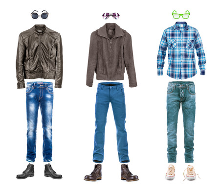 menswear: conceptual menswear collection street style isolated on white Stock Photo