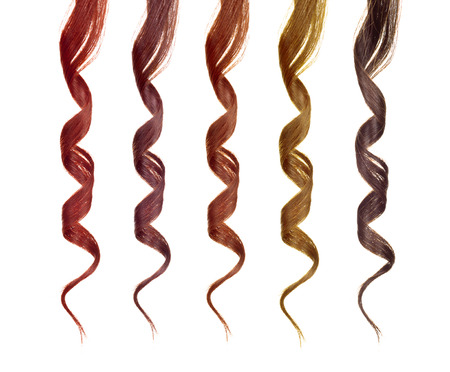 colored strands of hair isolated on a white