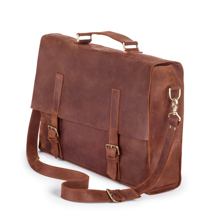 buckle: Brown Vintage leather briefcase with strap and brass buckle, clipping path included