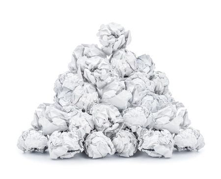 crumpled paper ball: pile of crumpled paper isolated on white background Stock Photo