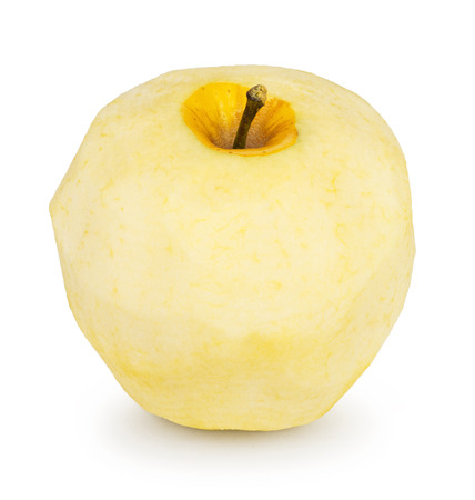 peeled apple on a white background
