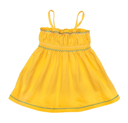 singlet: bright yellow singlet baby on a white background Stock Photo