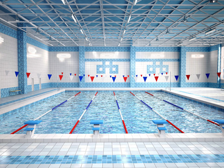 pool water: Illustration of interior of public swimming pool.
