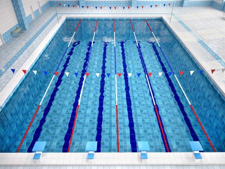 Illustration of interior of public swimming pool.