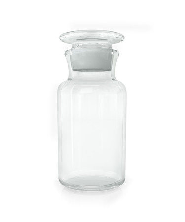 chemical bottle: Chemical bottle with transparent glass on a white background