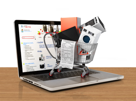 Large home appliances with a check in the shopping cart on the notebook. Ecommerce concept. Stock Photo