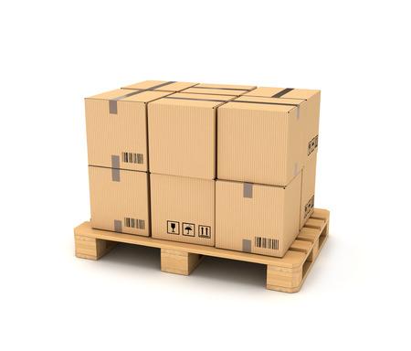 pallet truck: Cardboard boxes on wooden palette