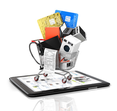 bake sale: Online store. Large home appliances with a check in the shopping cart on the tablet PC. E-commerce concept.