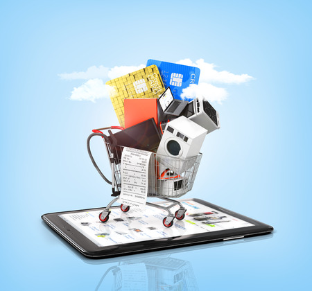 bake sale: Online store. Large home appliances with a check in the shopping cart on the tablet PC on the sky background. E-commerce concept.
