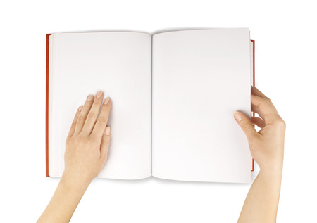 two page spread: hands hold the red bookdiary empty spread isolated white.