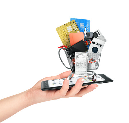 rebates: Online shop concept. Female hand hold phone with  large home appliances and check in shopping cart. E-commerce.