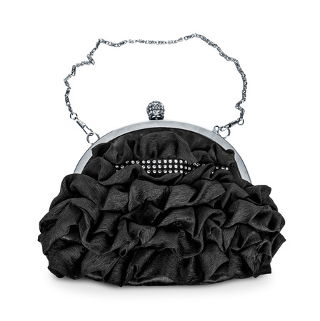 pochette: evening black handbag with silver chain isolated on white background