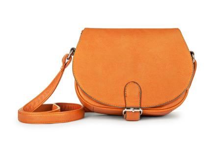 clutch cover: stylish youth orange leather bag isolated on white background