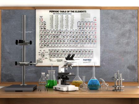 Concepto de laboratorio químico. Tubos de ensayo de laboratorio químico y objetos sobre la mesa, la tabla y la tabla periódica