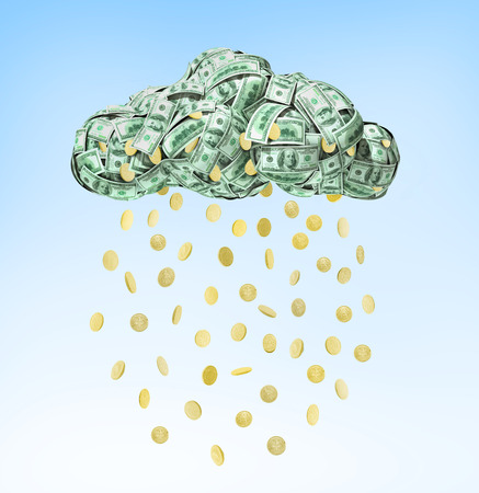 foreign currency: Dollar coins falling from the clouds isolated on blue background