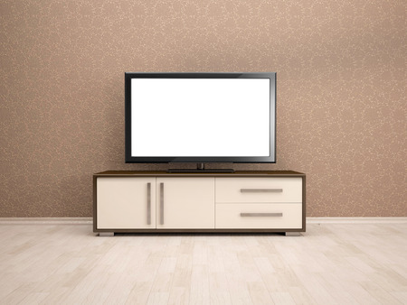 dvd room: 3d illustration of TV table in the interior