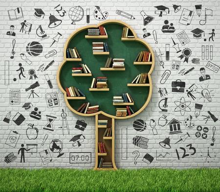 Boekenplank in de vorm van de boom en tekenen concept met gras. Studie concept.