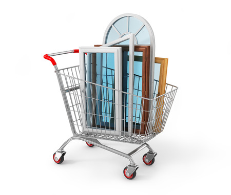 warm house: The windows in the shopping cart. Warm house concept.