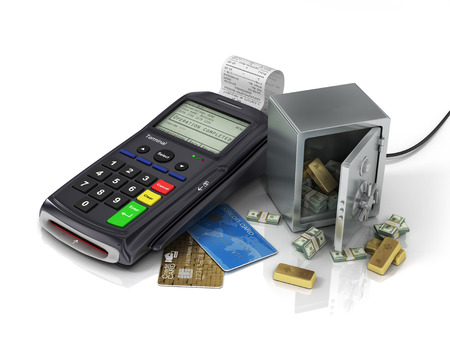safe payment: Payment terminal with credit card and safe with gold and money. Credit card reader, payment concept.