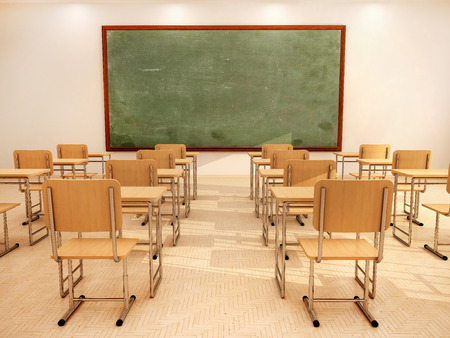 nobody: Illustration of bright empty classroom with desks and chairs