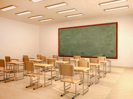 Illustration of bright empty classroom with desks and chairs