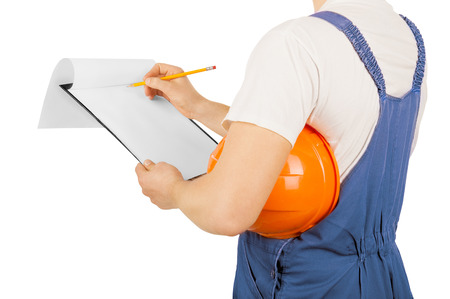 Construction worker isolated on a white background