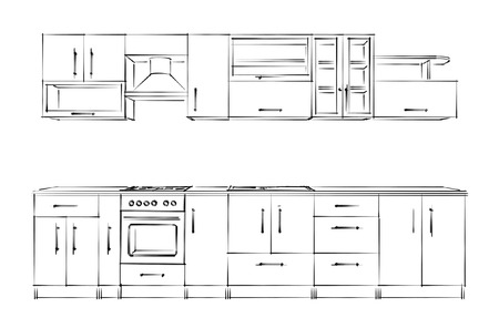 stove top: Kitchen furniture set. Sketch blackandwhite.