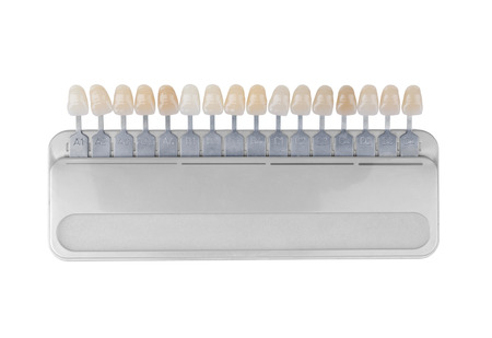 medical decisions: Palette of shades of teeth isolated on white Stock Photo