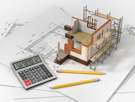 calculadora: Casa con interior abierto en la parte superior de los documentos planos y cálculos de la hipoteca.
