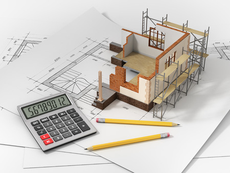 building loan: House with open interior on top of blueprints documents and mortgage calculations. Stock Photo