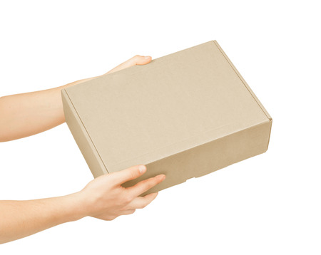 carrying box: hand with cardboard box on white background