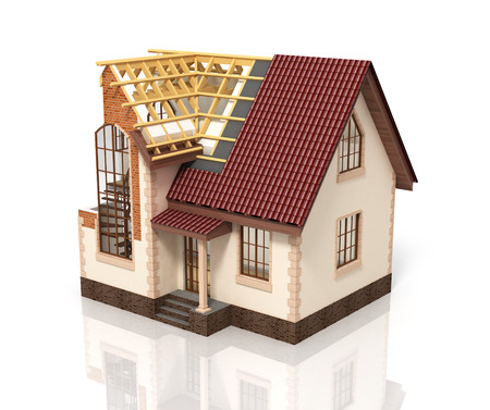 rafter: Construction house plan design blend transition illustration. Construction process with dimension. Stock Photo