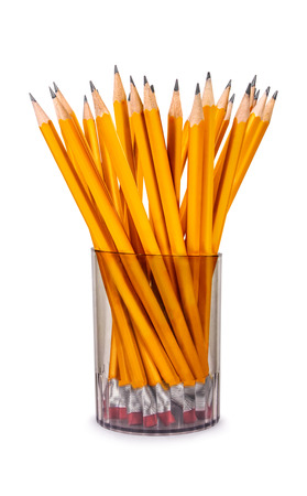 metall and glass: pencils in glass isolated on white Stock Photo
