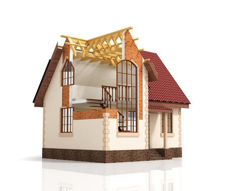 Construction house plan design blend transition illustration. Construction process with dimension. 版權商用圖片